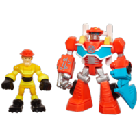 PLAYSKOOL HEROES TRANSFORMERS RESCUE BOTS Energize Heatwave the Fire-Bot & Kade Burns Figure Pack