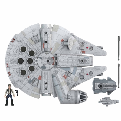 Star Wars Mission Fleet Han Solo Millennium Falcon 2.5-Inch-Scale Figure and Vehicle, Toys Kids Ages 4 and Up