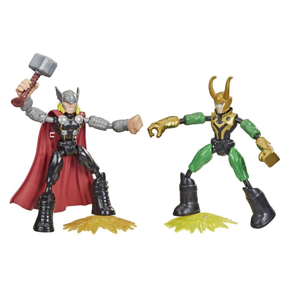 Marvel Avengers Bend and Flex Thor Vs. Loki Action Figure Toys, 6-Inch Flexible Figures, Ages 4 And Up