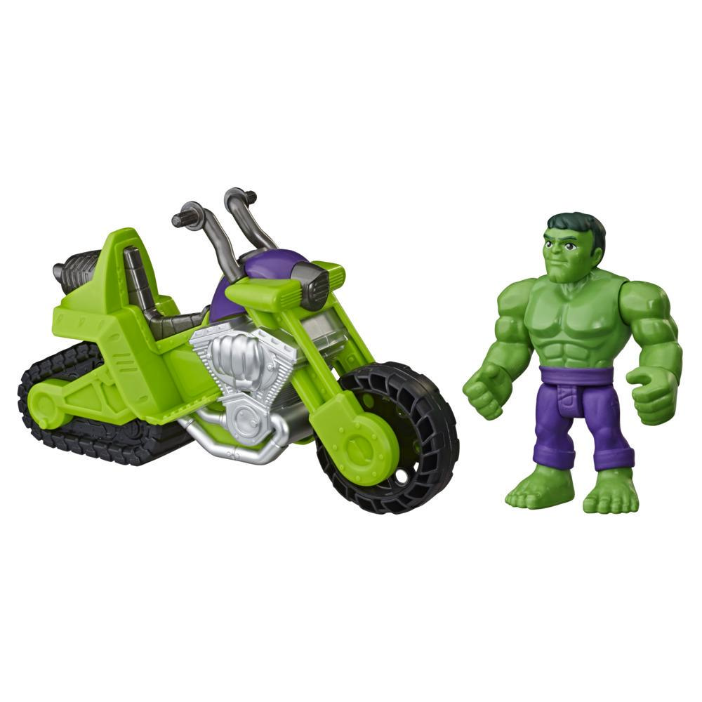 Playskool Heroes Marvel Super Hero Adventures Hulk Smash Tank, 5-Inch Figure and Motorcycle Set Toys