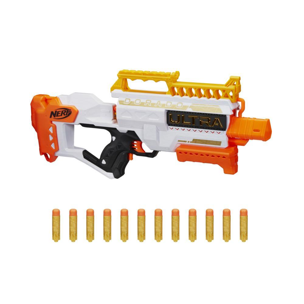 Nerf Ultra Dorado Motorized Blaster, Gold Accents, Fast-Back Loading, 12 Darts, Compatible Only with Nerf Ultra Darts