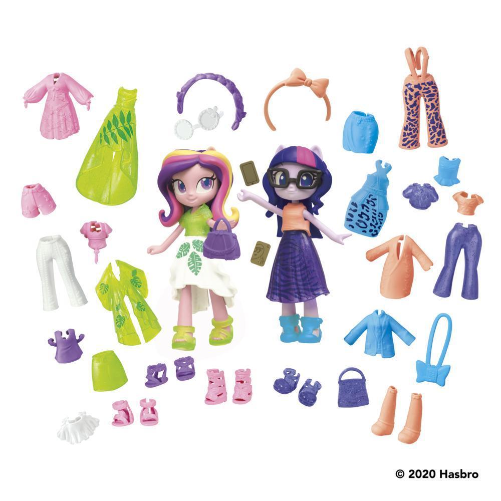 My Little Pony Equestria Girls Fashion Squad Twilight Sparkle and Princess Cadance Mini Doll Set Toy, 40 Fashion Accessories