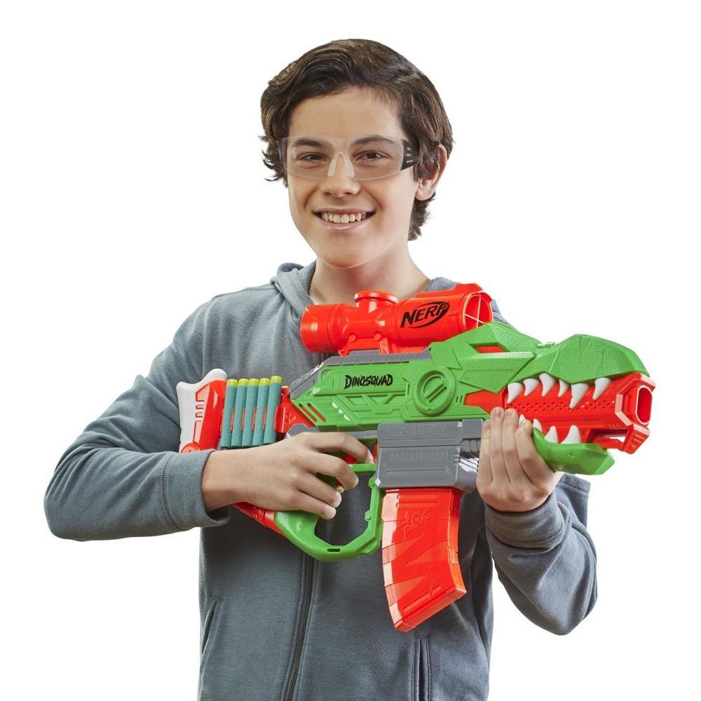 Nerf DinoSquad Rex-Rampage Motorized Dart Blaster, 10-Dart Clip, 20 Nerf Darts, 10-Dart Storage- T-Rex Dinosaur Design