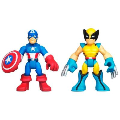 PLAYSKOOL HEROES MARVEL SUPER HERO ADVENTURES Captain America and Wolverine Figure 2 Pack