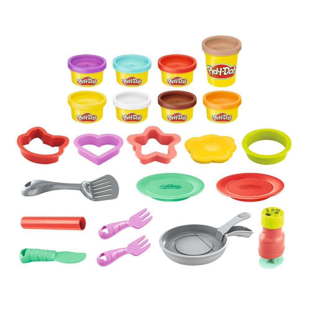 Play-Doh Kitchen Creations Flip 'n Pancakes Playset for Kids 3 Years and Up with 8 Colors, 14 Pieces