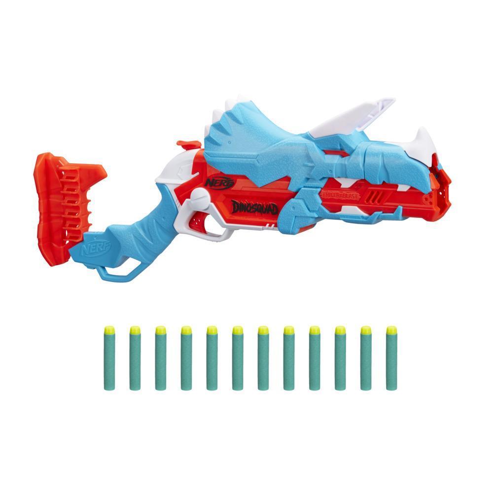 Nerf DinoSquad Tricera-blast Blaster, Break-Open 3-Dart Loading, 12 Nerf Darts, Dart Storage, Triceratops Dinosaur Design