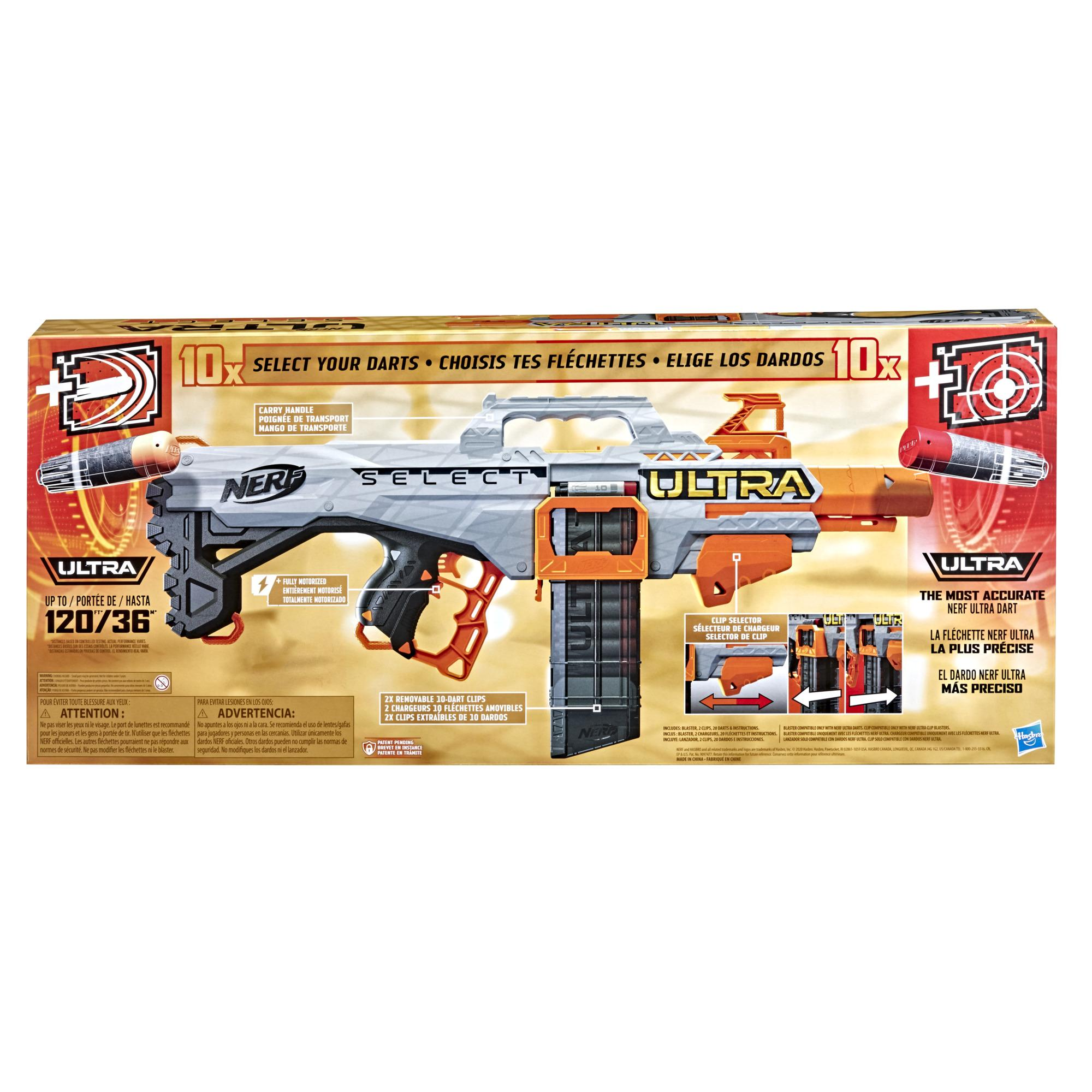 Nerf Ultra Select Fully Motorized Blaster, Fire 2 Ways, Includes Clips and Darts, Compatible Only with Nerf Ultra Darts