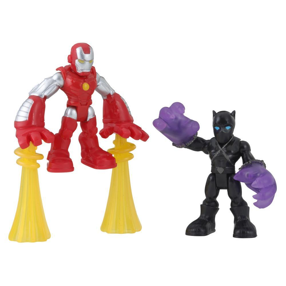 Playskool Heroes Marvel Super Hero Adventures 2-Pack, Collectible 2.5-Inch Black Panther and Iron Man Action Figures