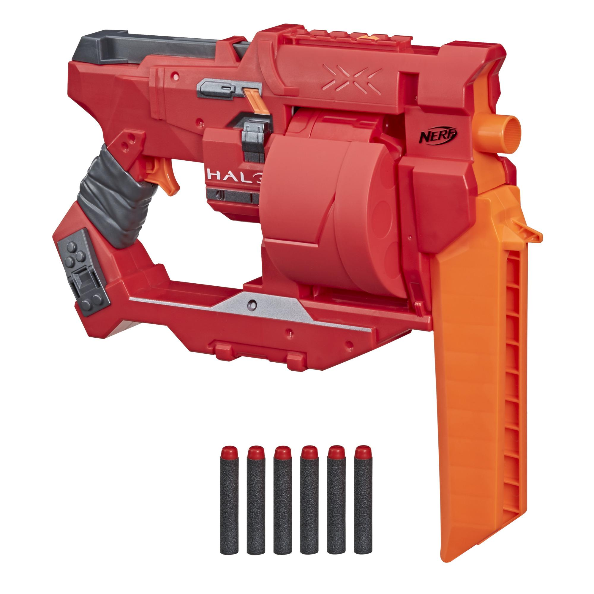 Nerf Halo Mangler Dart Blaster -- Pull-Back Priming Handle, Rotating 6-Dart Drum -- Includes 6 Official Nerf Elite Darts