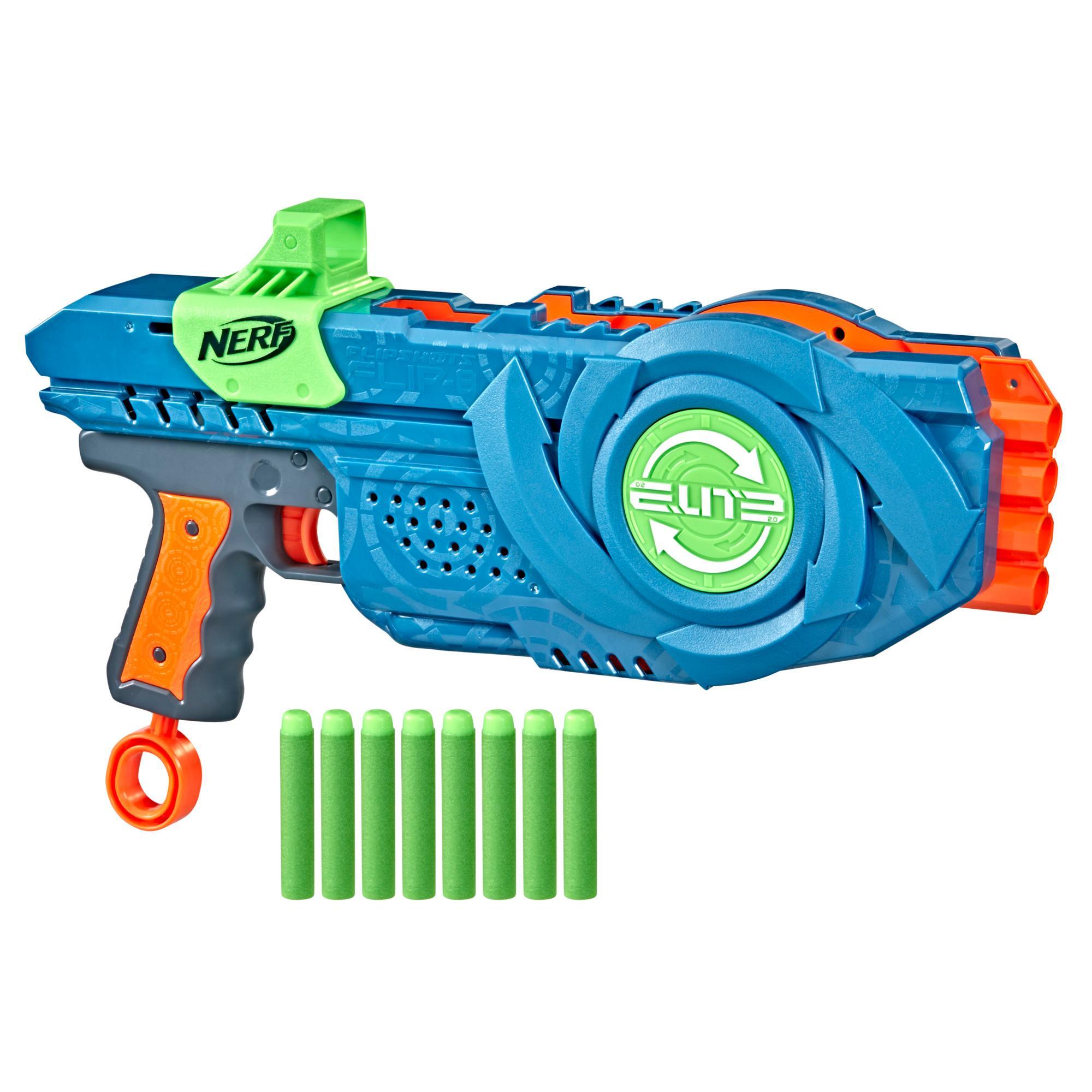 Nerf Elite 2.0 Flipshots Flip-8 Blaster, 8 Dart Barrels Flip to Double Your Firepower, 8-Dart Capacity, 8 Nerf Darts