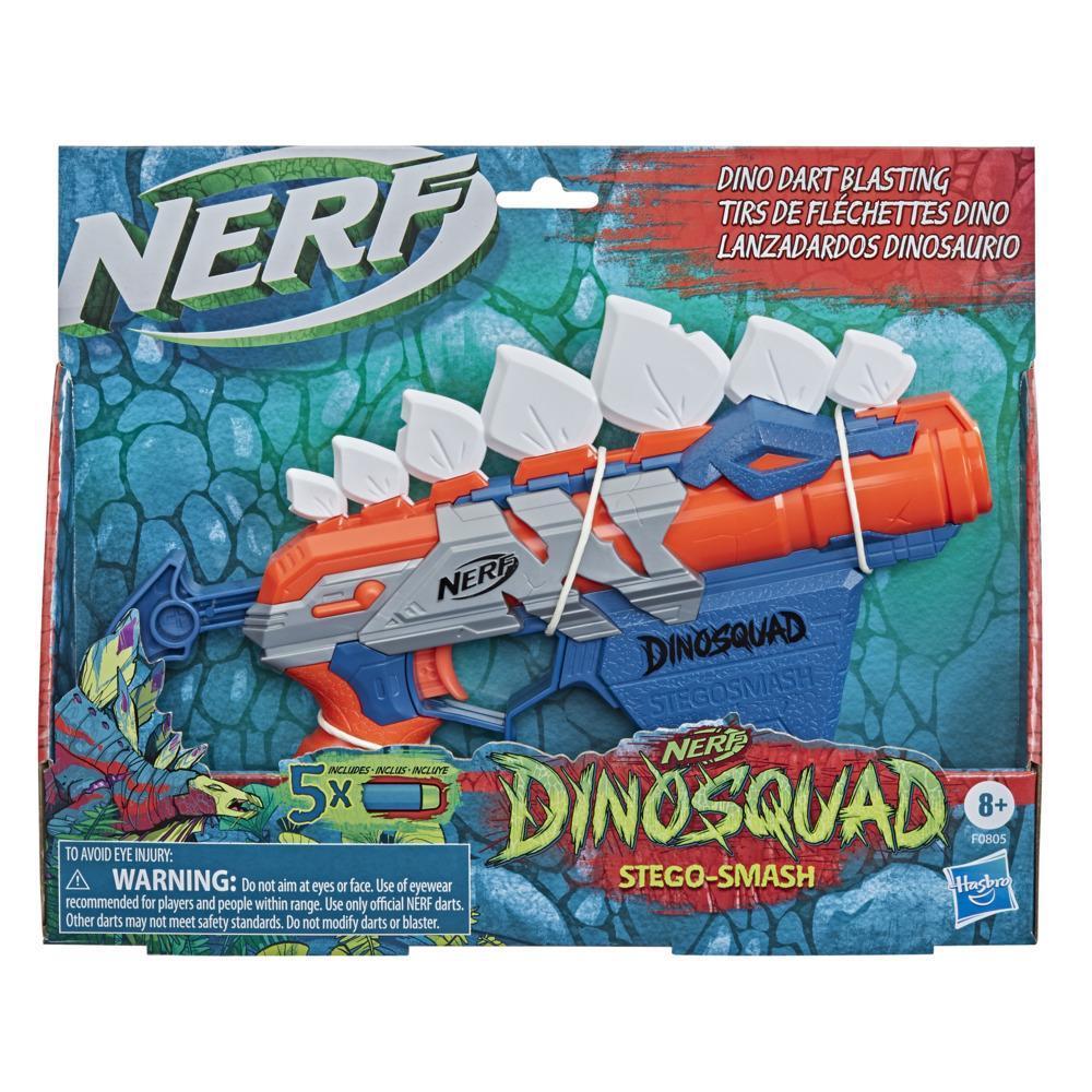 Nerf DinoSquad Stegosmash Dart Blaster, 4-Dart Storage, 5 Official Nerf Darts, Dinosaur Design, Stegosaurus Spikes