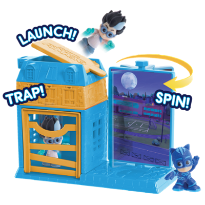 PJ Masks Night Time Micros Trap & Escape Playset - Catboy & Romeo