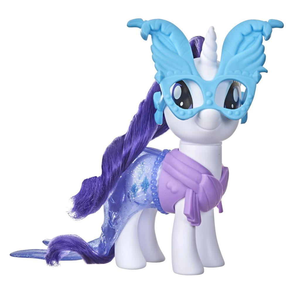 My Little Pony Rarity Dress-Up Toy -- 6-Inch White Pony Figure with 3 Snap-On Fashion Accessories, Soft Hair