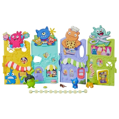 UglyDolls Uglyville Unfolded Main Street Playset and Portable Tote, 3 Figures and Accessories