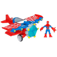 MARVEL Spider-Man Adventures PLAYSKOOL HEROES STUNT WING SPIDER PLANE with SPIDER-MAN Vehicle