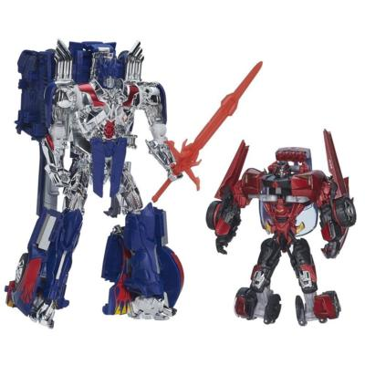 Transformers Age of Extinction Generations Leader Class Optimus Prime Figure with Trailer and Sideswipe Figure