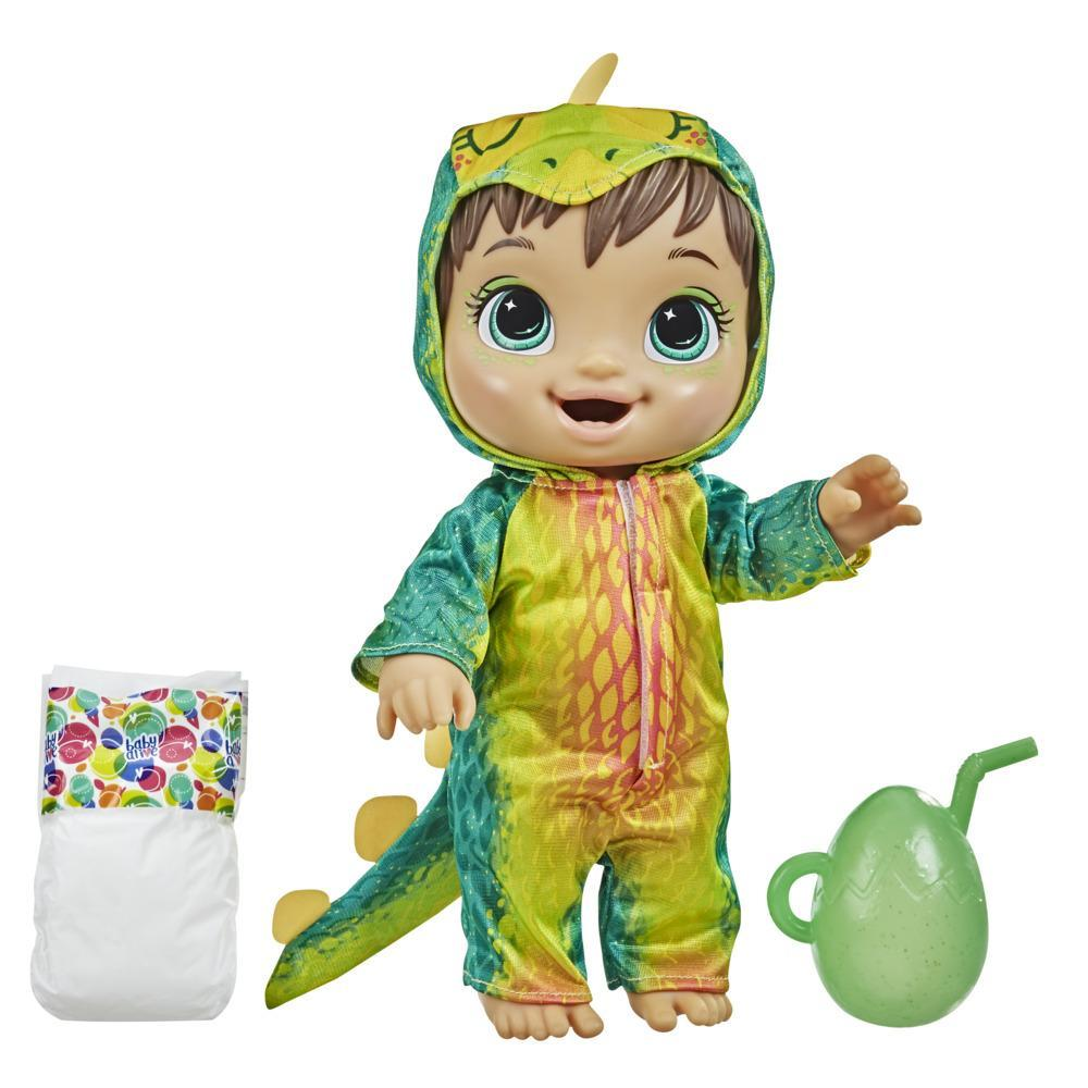 Baby Alive Dino Cuties Doll, Stegosaurus, Drinks, Wets, Dinosaur Toy for Kids Ages 3 Years and Up, Brown Hair