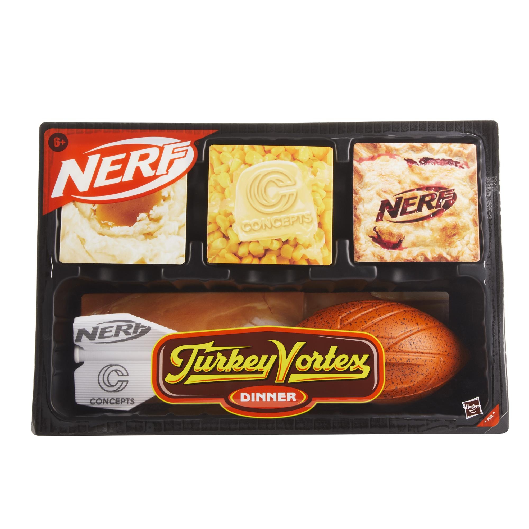 Nerf Sports Turkey Vortex Dinner -- Nerf Vortex Aero Howler Football, Turkey Drumstick Design, Fun Retro Dinner Tray