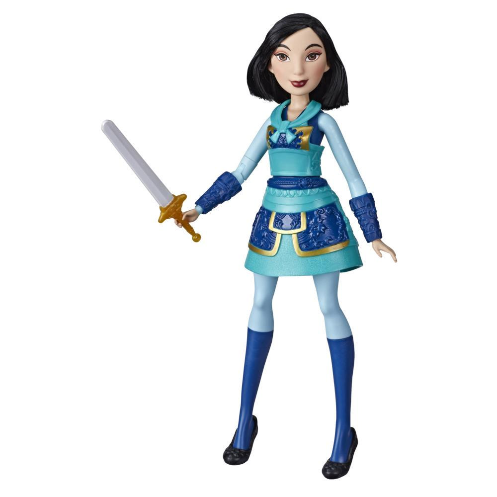 Disney Princess Warrior Moves Mulan Doll with Sword-Swinging Action, Warrior Outfit Mulan Fashion Doll Toy for Kids