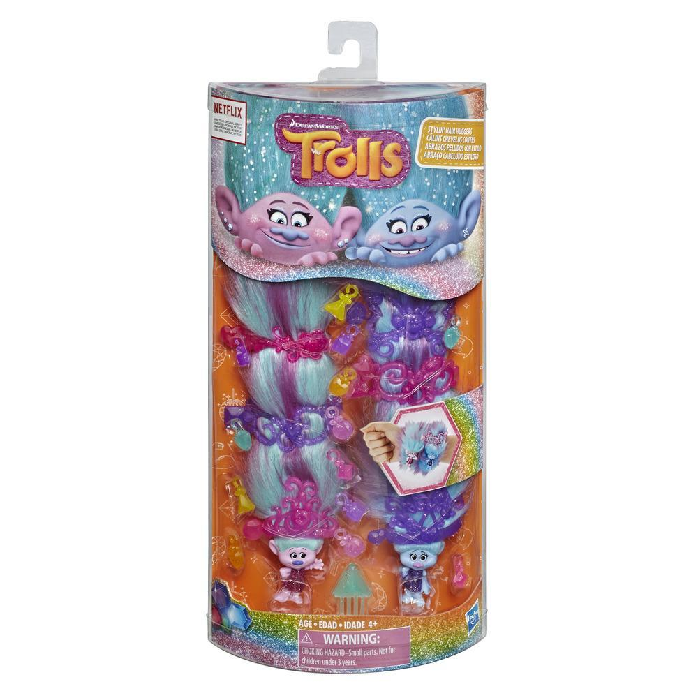 DreamWorks Trolls Stylin' Hair Huggers Toys, Satin and Chenille Figures
