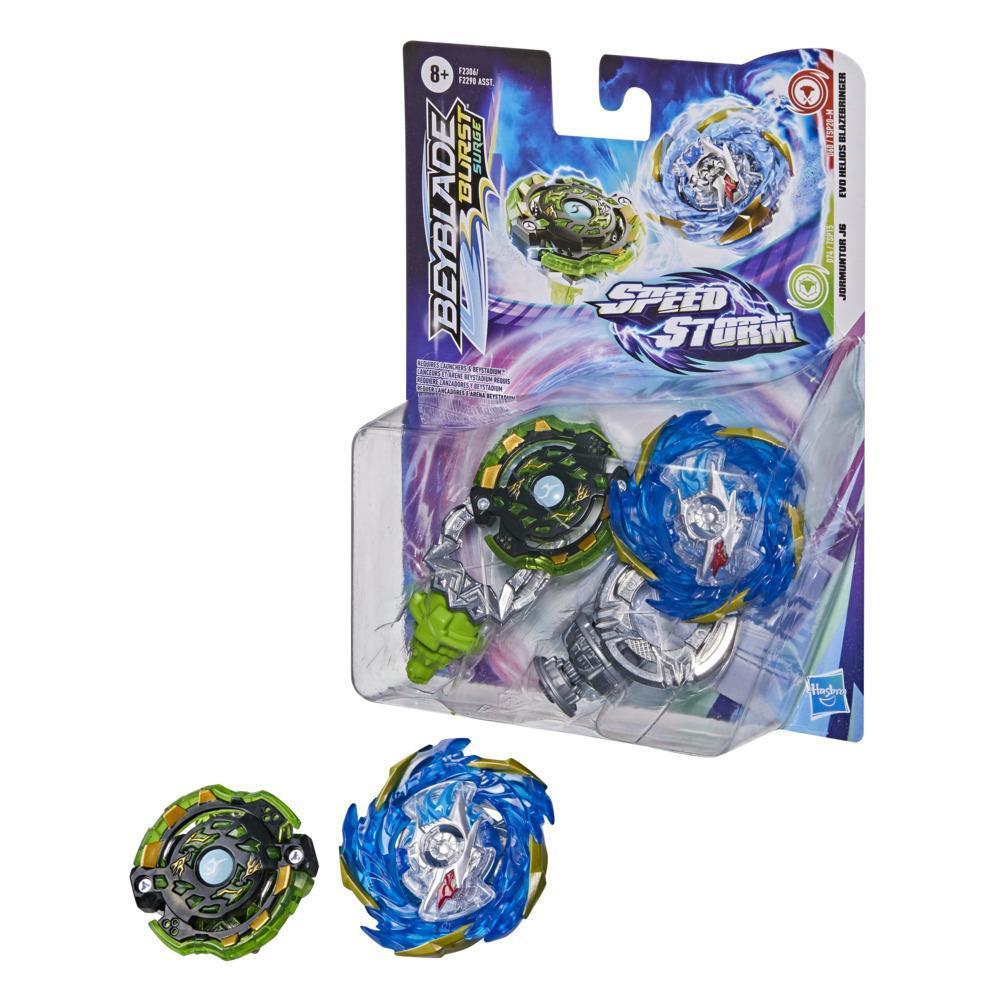 Beyblade Burst Surge Speedstorm Evo Helios Blazebringer and Jormuntor J6 Spinning Top Dual Pack -- Battling Game Top Toy