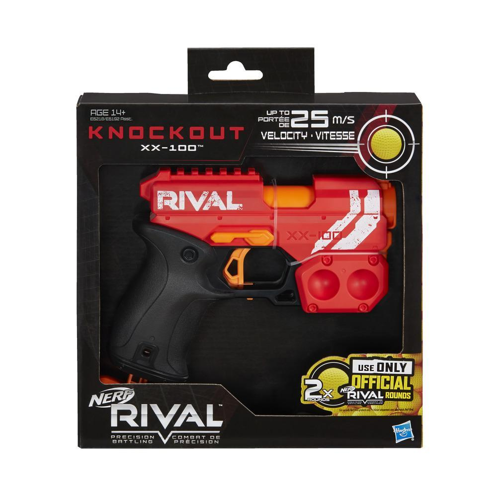 Nerf Rival Knockout XX-100 Blaster -- Round Storage, 85 FPS -- Includes 2 Official Nerf Rival Rounds -- Team Red