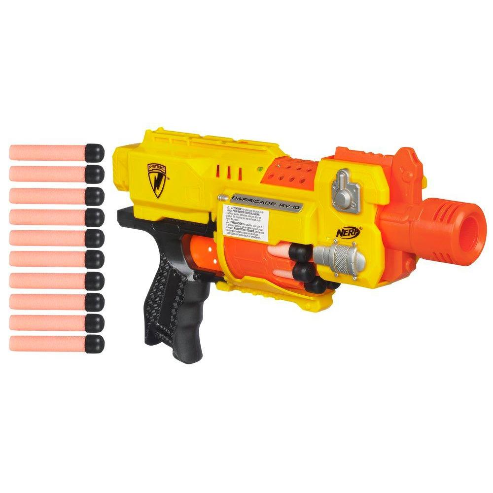 NERF N-STRIKE BARRICADE RV-10 Blaster  Double Your Darts Nerf Barricade With Stock