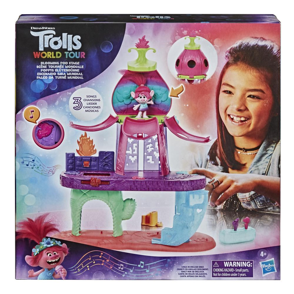 DreamWorks Trolls World Tour Blooming Pod Stage Musical Toy, Plays 3 Different Songs, Playset for Kids 4 and Up