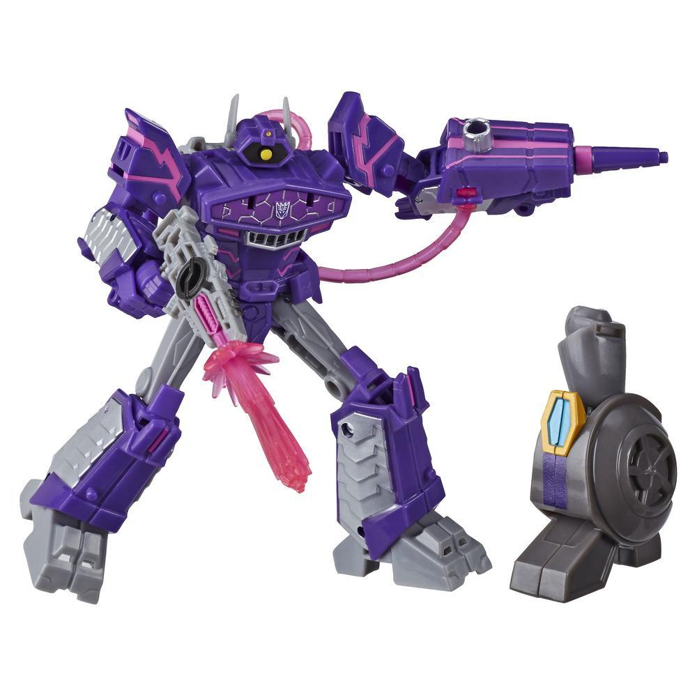 Transformers Toys Cyberverse Deluxe Class Shockwave Action Figure, Shock Blast Attack Move, Build-A-Figure Piece, 5-inch