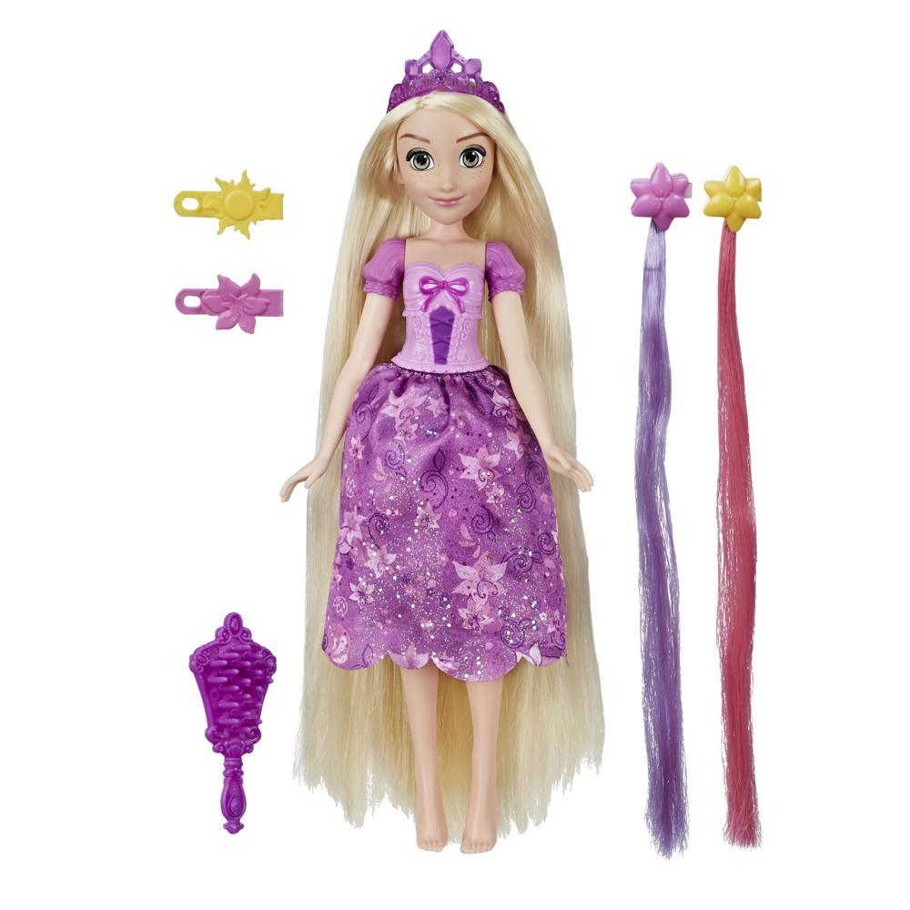 Disney Princess Hair Style Creations Rapunzel Fashion Doll, Hair Styling Toy with Brush, Hair Extensions and Clips