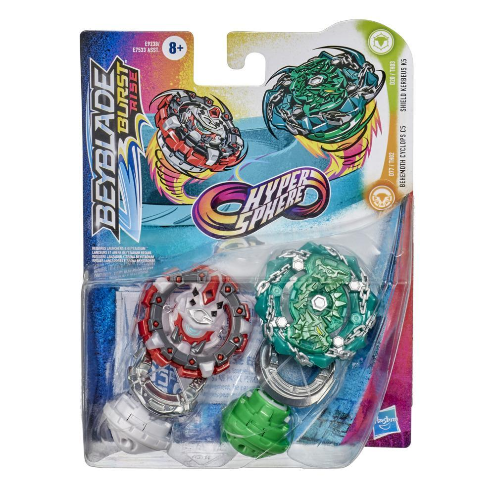 Beyblade Burst Rise Hypersphere Dual Pack Shield Kerbeus K5 and Behemoth Cyclops C5 -- 2 Battling Top Toys Age 8 and Up