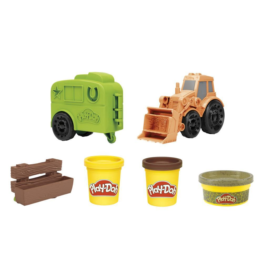 Play-Doh Wheels Tractor Farm Truck Toy for Kids 3 Years and Up with 3 Cans of Non-Toxic Modeling Compound