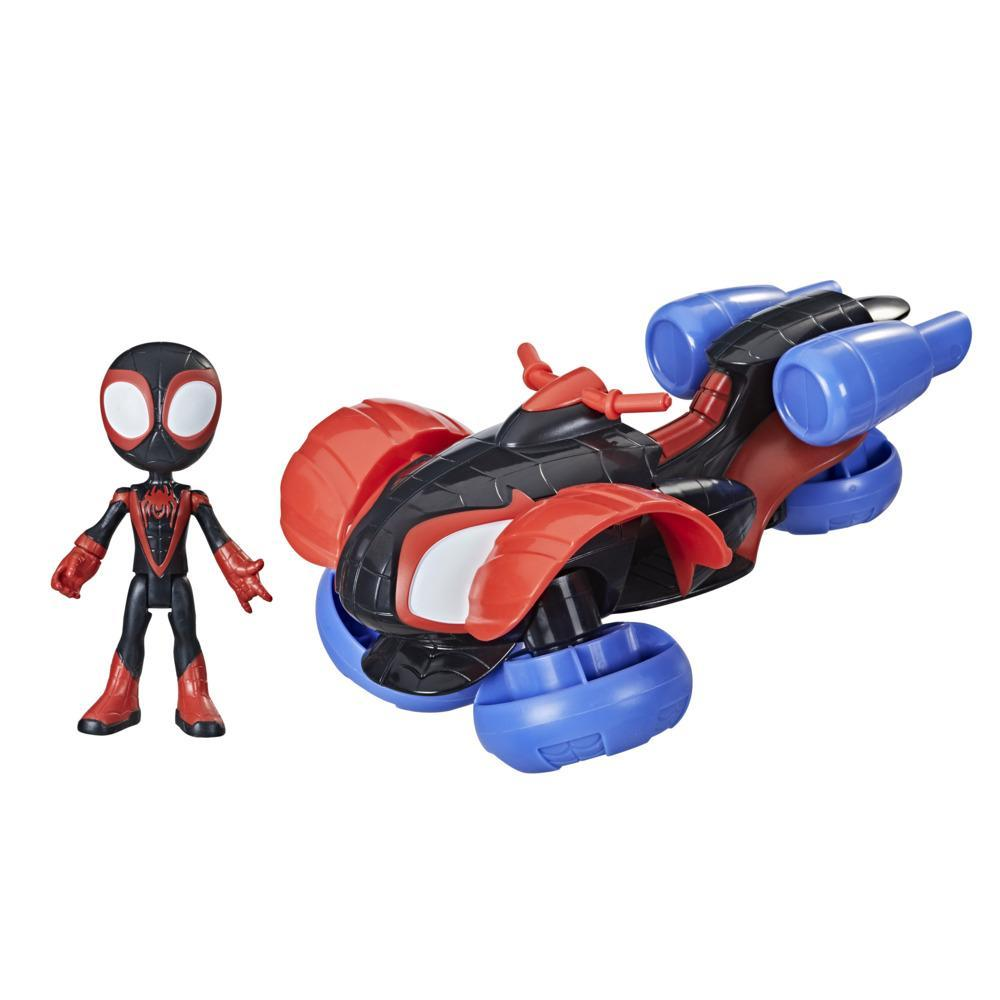 Marvel Spidey and His Amazing Friends Change 'N Go Techno-Racer And 4-Miles Morales: Spider-Man Action Figure, Ages 3 And Up