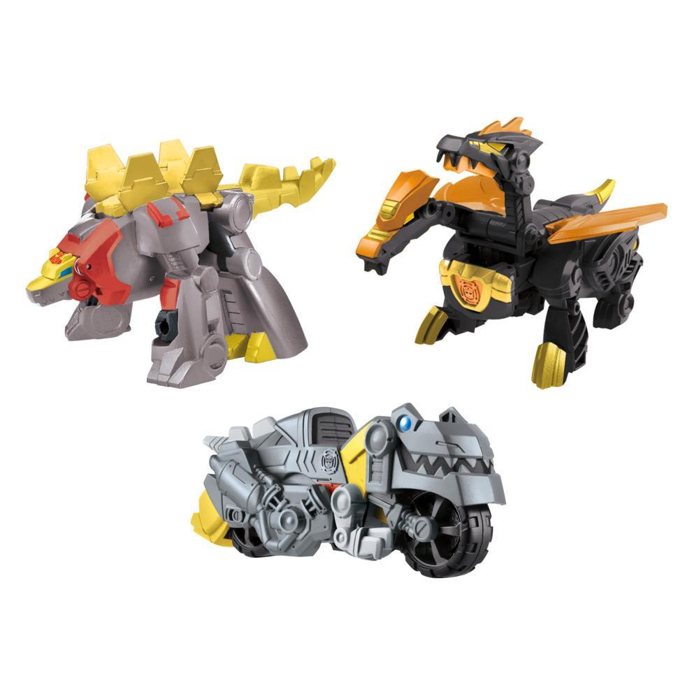 Transformers Dinobot Adventures Dinobot Squad Grimlock, Dinobot Snarl, and Predaking 3-Pack, 4.5-Inch Toys, Age 3 and Up