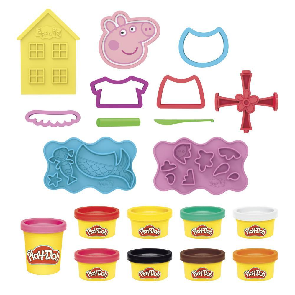 Play-Doh Peppa Pig Stylin Set with 9 Non-Toxic Modeling Compound Cans, 11 Accessories, Peppa Pig Toy for Kids 3 and Up