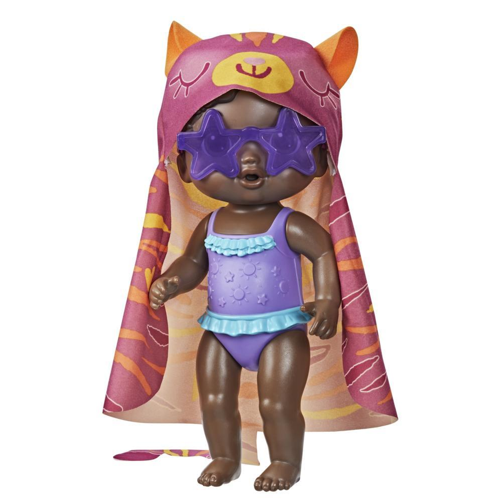 Baby Alive Sunshine Love Doll, Tiger Towel, 10-Inch Waterplay Baby Doll, Sunglasses, Black Hair Toy for Kids 3 and Up