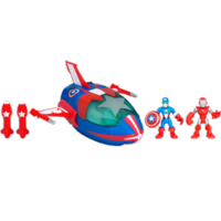 MARVEL Super Hero Adventures PLAYSKOOL HEROES Quinjet with CAPTAIN AMERICA & IRON MAN Set