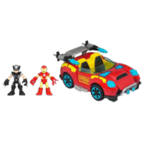 MARVEL Super Hero Adventures PLAYSKOOL HEROES Crime-Cruising Car with WOLVERINE & IRON MAN Set