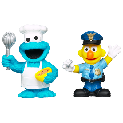 PLAYSKOOL SESAME STREET Friends at Work Cookie Monster & Bert Figures