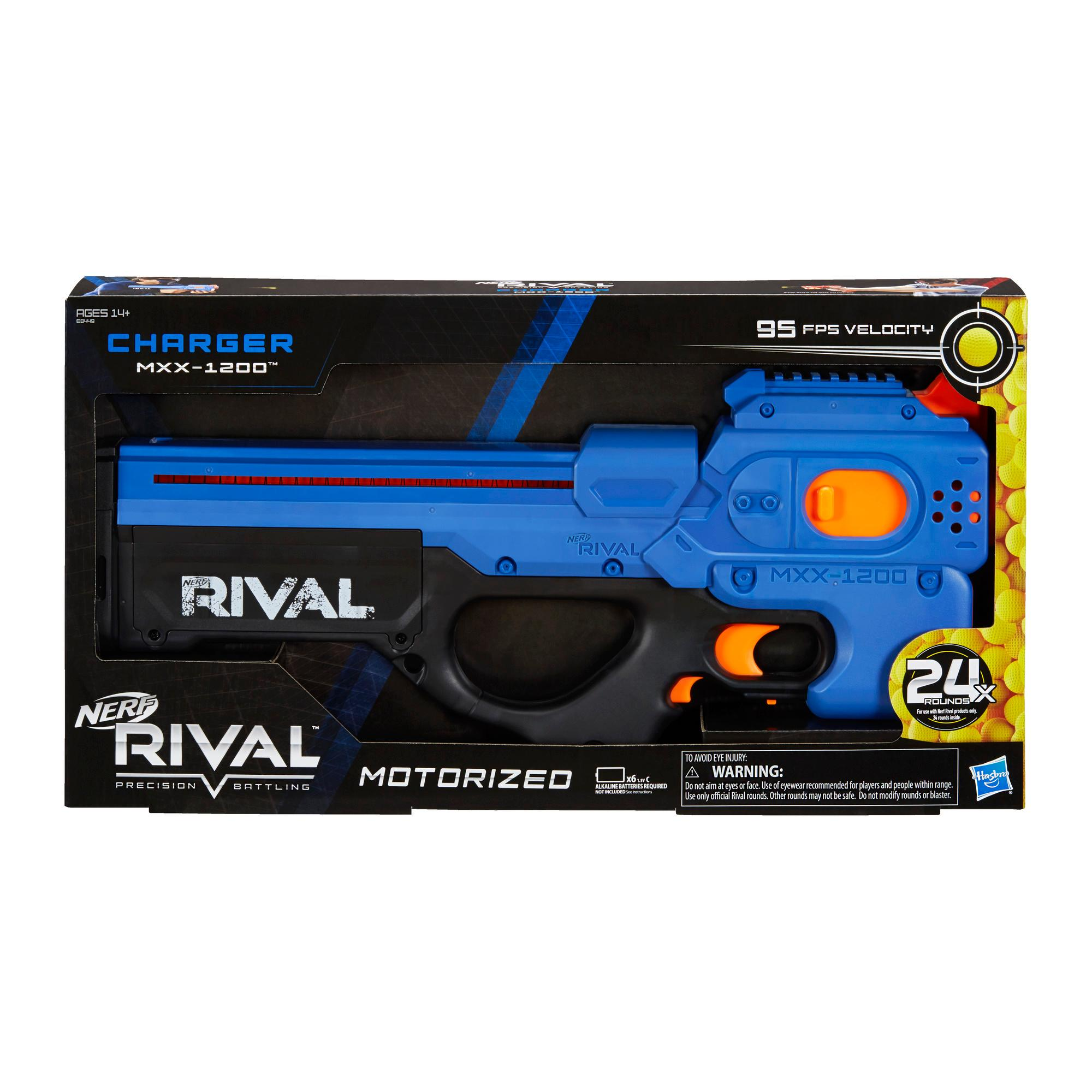 Nerf Rival Charger MXX-1200 Motorized Blaster -- 12-Round Capacity, 95 FPS, 24 Official Nerf Rival Rounds -- Team Blue