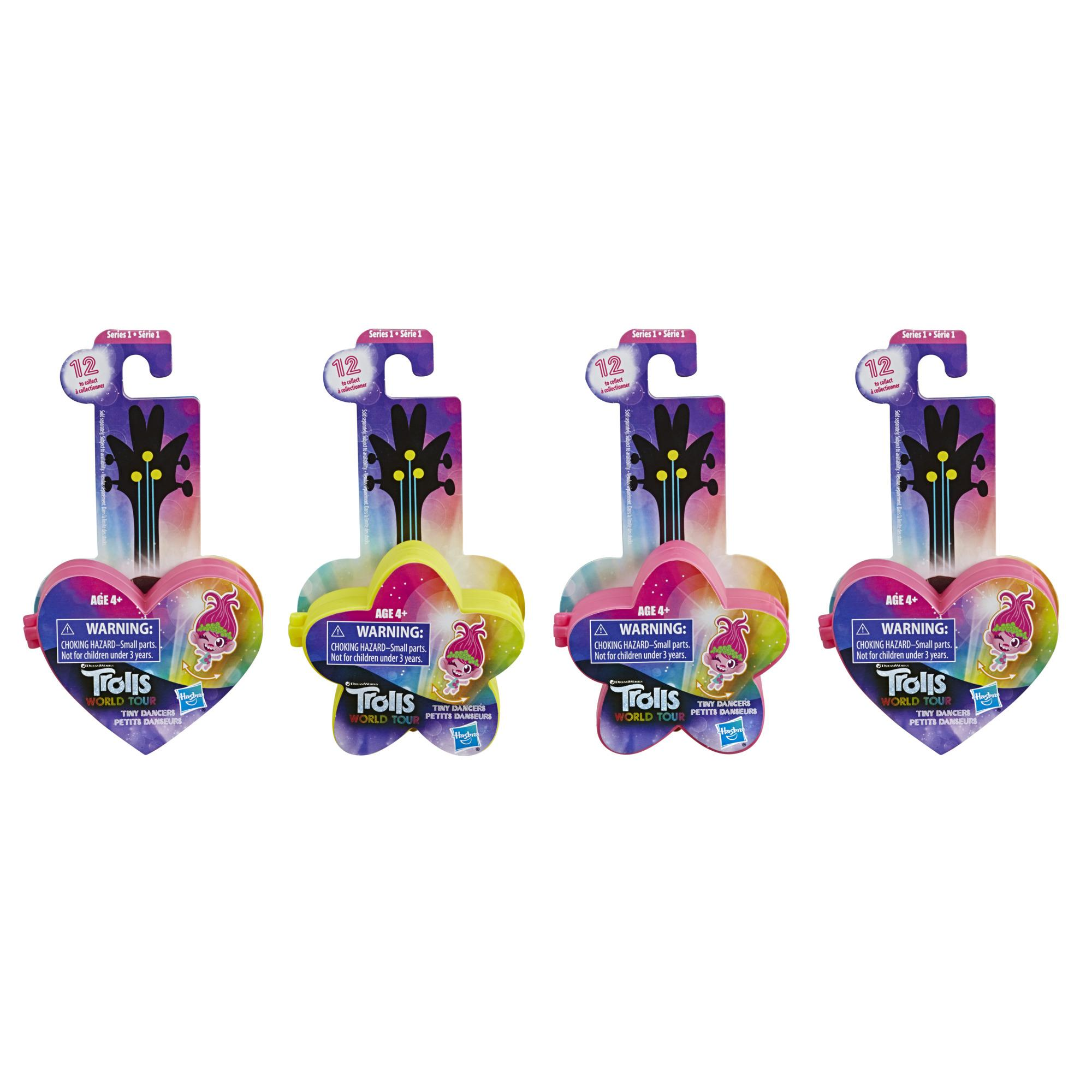 DreamWorks Trolls World Tour Tiny Dancers Surprise 4 Pack Series 1, 4 Tiny Dancers Dolls, Toy for Kids 4 and Up