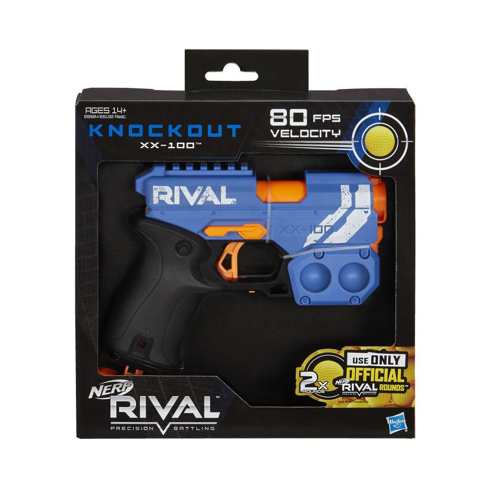 Nerf Rival Knockout XX-100 Blaster -- Round Storage, 85 FPS -- Includes 2 Official Nerf Rival Rounds -- Team Blue
