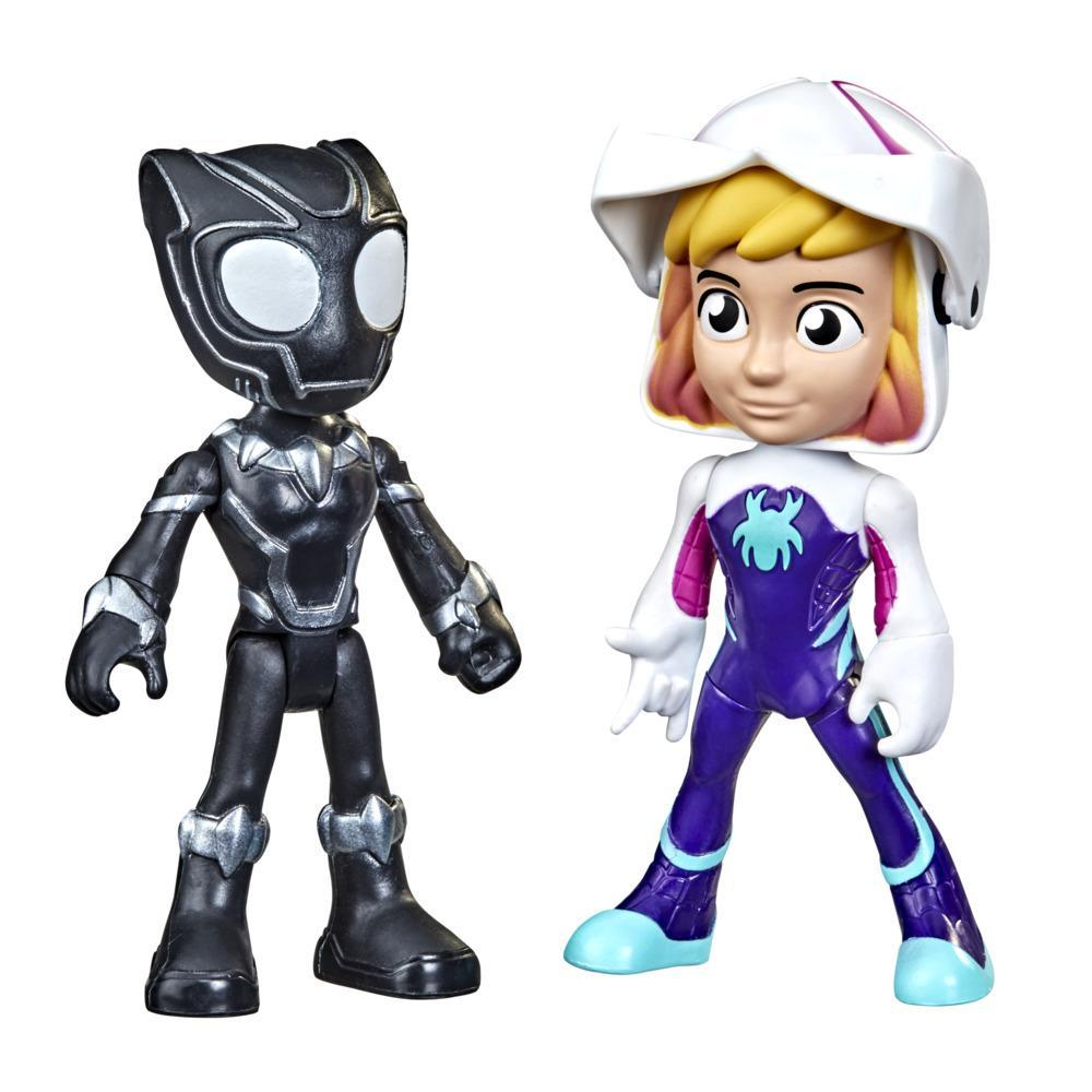 Marvel Spidey and His Amazing Friends Hero Reveal Figure 2-Pack, Mask Flip Feature, Ghost-Spider and Black Panther, 3 And Up