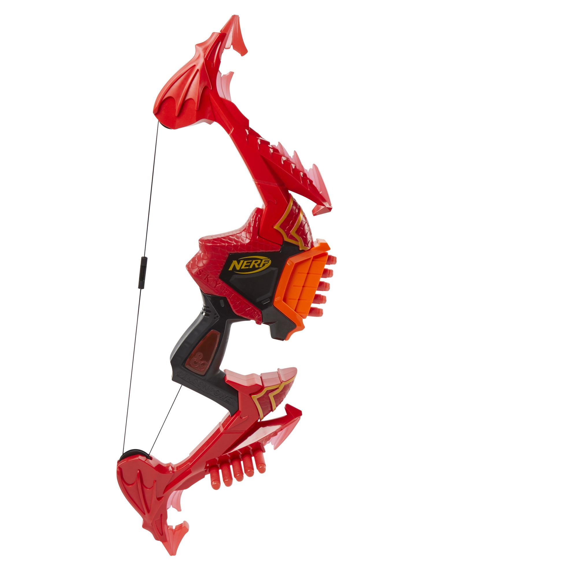 Nerf DragonPower Skyblaze Dart Bow, Inspired by Dungeons and Dragons, Dragon Bow Action, 10 Nerf Darts, 5-Dart Storage