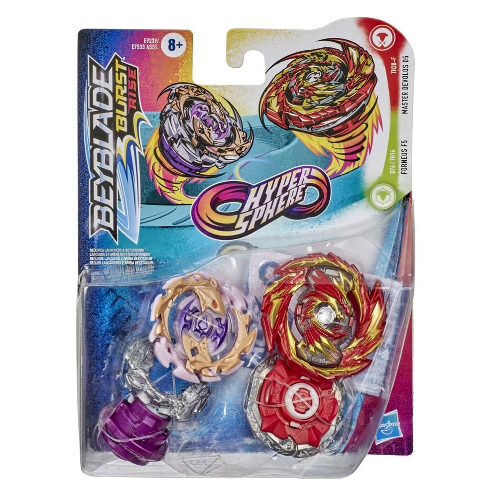 Beyblade Burst Rise Hypersphere Dual Pack Master Devolos D5 and Forneus F5 -- 2 Battling Top Toys Age 8 and Up