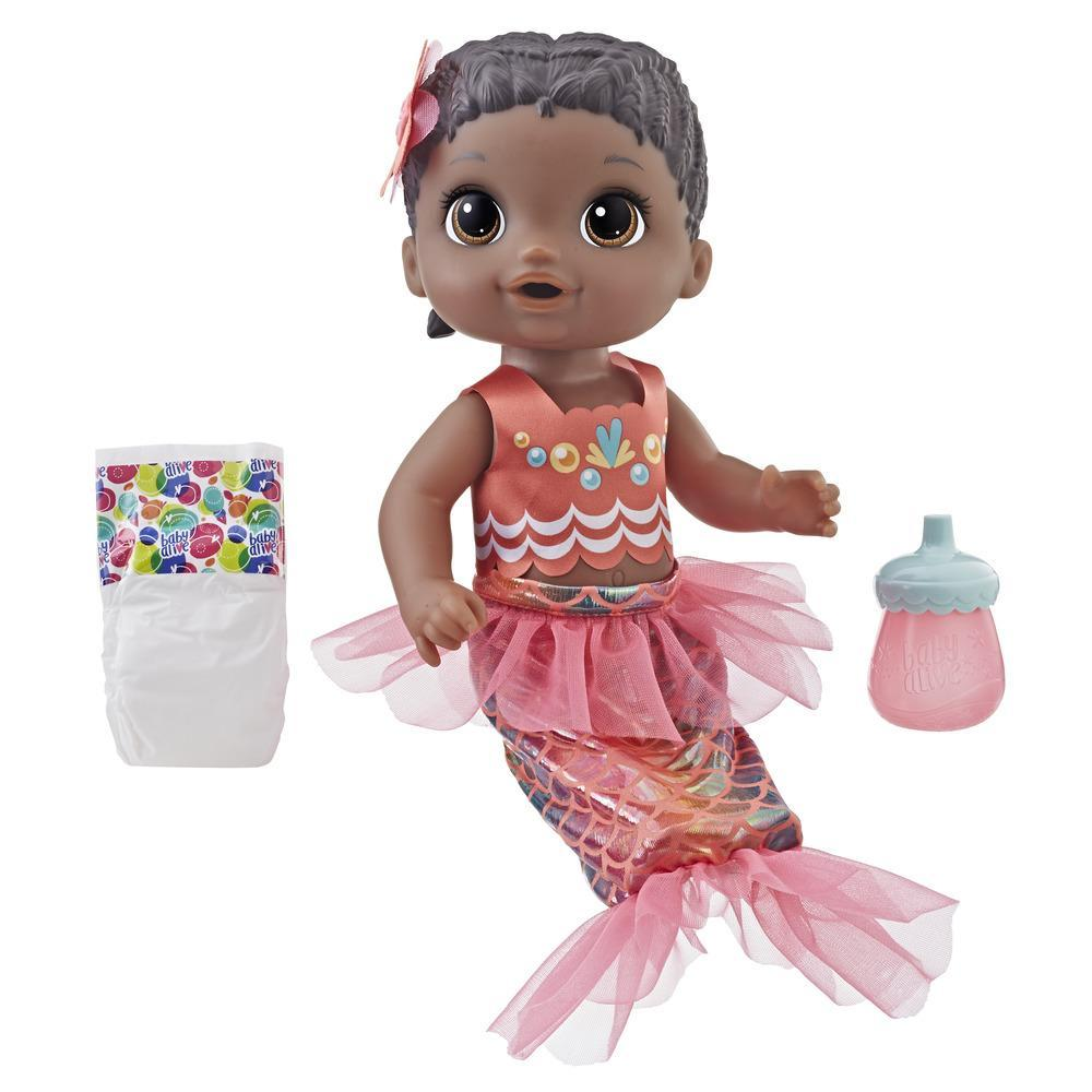 Baby Alive Shimmer 'n Splash Mermaid Baby Doll (Black Hair)