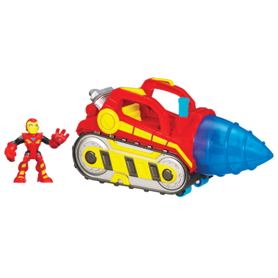 MARVEL Super Hero Adventures PLAYSKOOL HEROES REPULSOR DRILL Vehicle with IRON MAN Figure