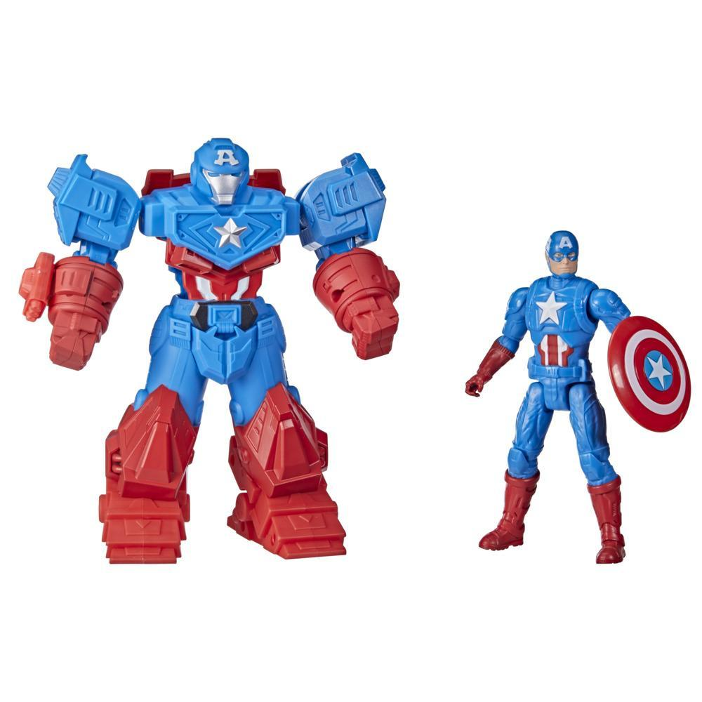Hasbro Marvel Avengers Mech Strike 8-inch Super Hero Action Figure Toy Ultimate Mech Suit Captain America, For Kids Ages 4 And Up