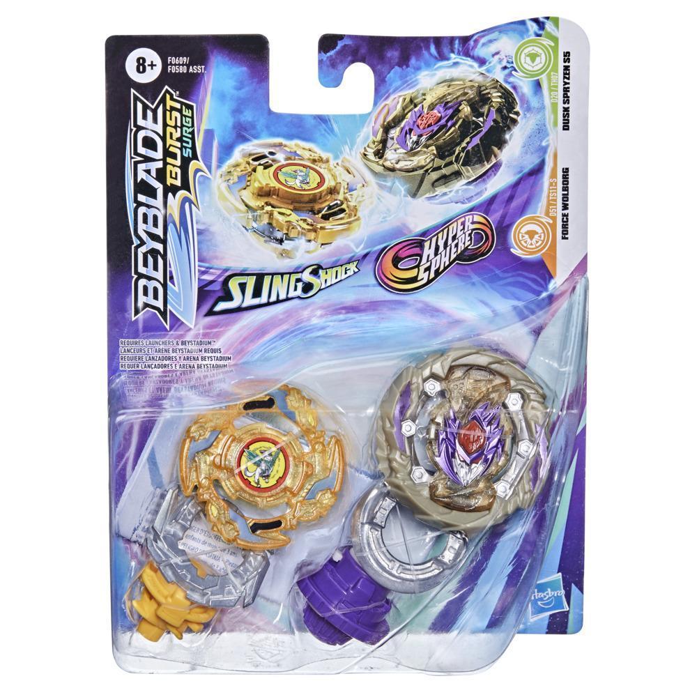 Beyblade Burst Surge Dual Collection Pack Hypersphere Dusk Spryzen S5 and Slingshock Force Wolborg Battling Game Top Toys