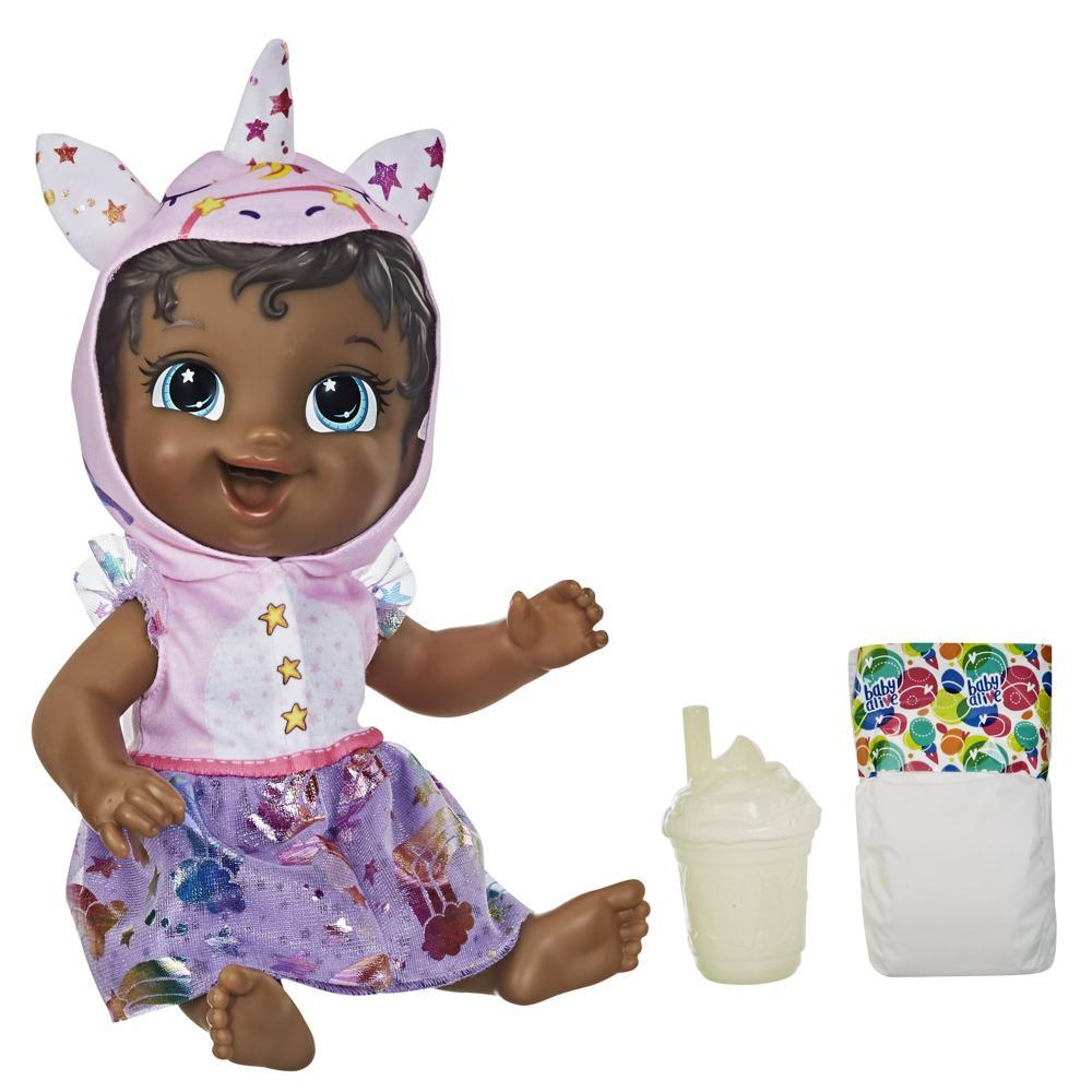 Baby Alive Tinycorns Doll, Unicorn, Accessories, Drinks, Wets, Black Hair Toy for Kids Ages 3 Years and Up